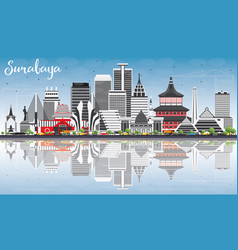 Surabaya skyline with gray buildings blue sky and vector