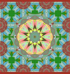 template colored mandala circle of zentangle hand vector image