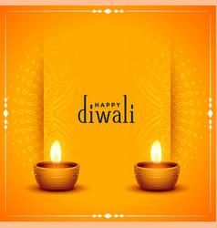 Traditional happy diwali orange card vector