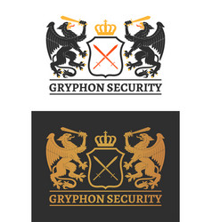 two gryphons wita a swords hold a shield vector image