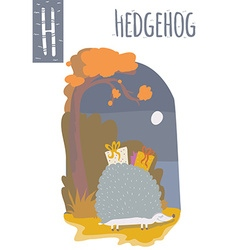 Vertical of hedgehog with colorful autumn vector