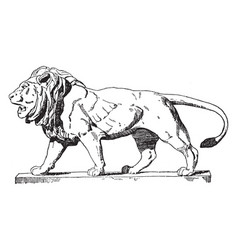 walking lion is a modern french statue vintage vector image