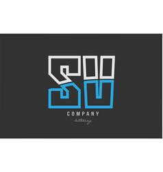 white blue alphabet letter sv s v logo icon design vector image