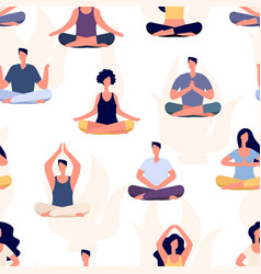 yoga pattern meditation people seamless vector image