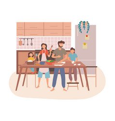 Young family preparing food together in a kitchen vector