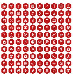 100 heart icons hexagon red vector