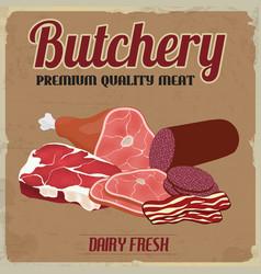 butchery retro poster vector image