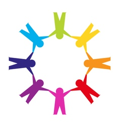 Paper cut people circle vector image vector image