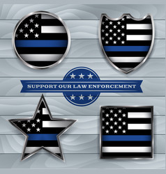 Police support flag badges vector