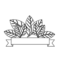 silhouette with leaves and label vector image vector image