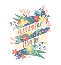 Vintage Valentine Day decoration flowers vector image vector image
