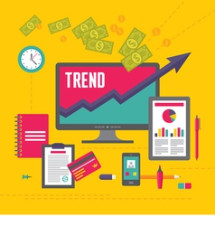 Business Trend in Flat Design Style vector image