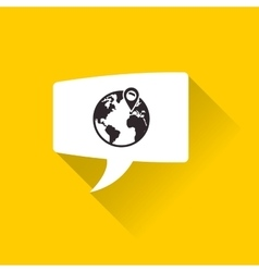 planet earth and gps pin inside conversation vector image