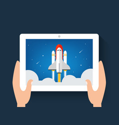 spaceship or shuttle launch image on a on digital vector image vector image