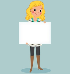 young girl holding blank sign vector image vector image