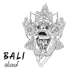 Bali sketch Barong - balinese god Traditional vector image