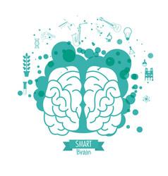 brain design mind concept white background vector image