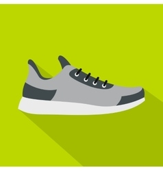 Gray sneaker icon flat style vector image vector image