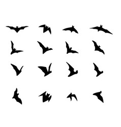 set of flying bat silhouette icons vector image