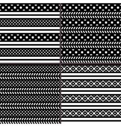 black and white polka dot horizontal striped vector image