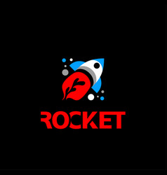 flat rocket logo flying rocket icon with a flame vector image