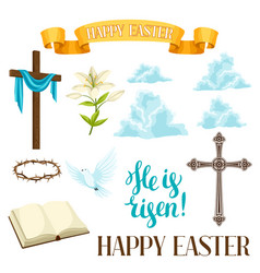 Happy easter set of decorative objects religious vector