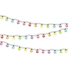 Multicolored Garland Lamp Bulbs Festive vector image