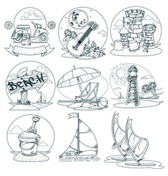 set of the outline drawings on the theme of summer vector image