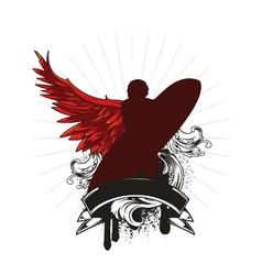 vintage emblem with surfer vector image