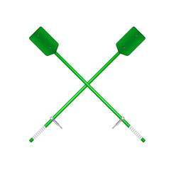 wo crossed old oars in green design vector image vector image