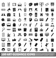 100 art guidance icons set simple style vector