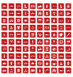 100 rafting icons set grunge red vector