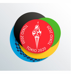 2020 olympic games colored rings with torch vector