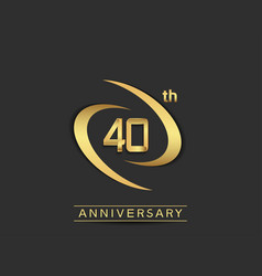 40 years anniversary logo style with swoosh ring vector