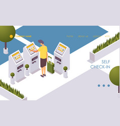 a person independently self check-in for flight vector image