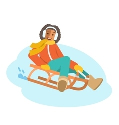 African girl sledding flat vector image