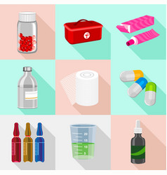 Aid kit icons set flat style vector