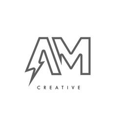 Am letter logo design with lighting thunder bolt vector