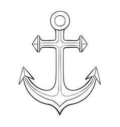 anchor black outline drawing vector image