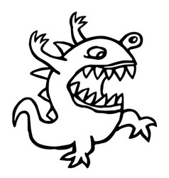 Angry dino cute cartoon character vector