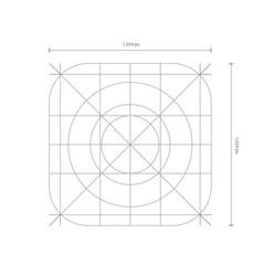 App icon dimensions development grid line vector