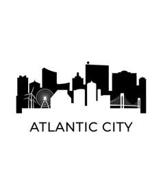 Atlantic city new jersey city skyline negative vector