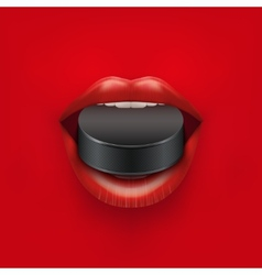 Background of Womans open mouth with ice hockey vector