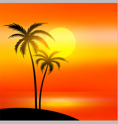 beach scene with sunset and palm tree vector image
