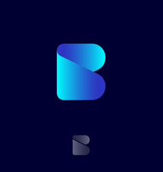beauty logo b origami monogram blue ribbon vector image