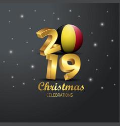Belgium flag 2019 merry christmas typography new vector