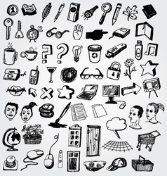 big set of doodled internet icons vector image