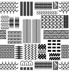 Black and white mayan embroidery seamless vector