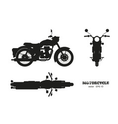 Black silhouette of retro classic motorcycle vector
