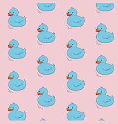 blue duck on pink background concept cute cartoon vector image